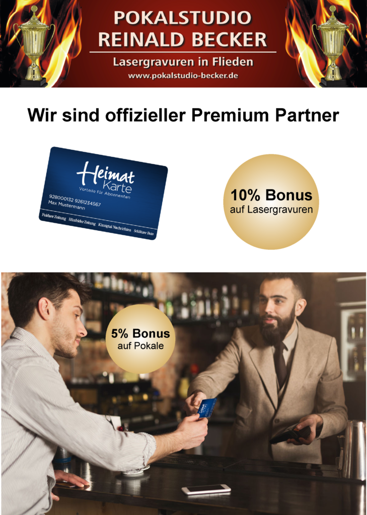 Heimatkarte Premium Partner Bonus Lasergravuren Pokale